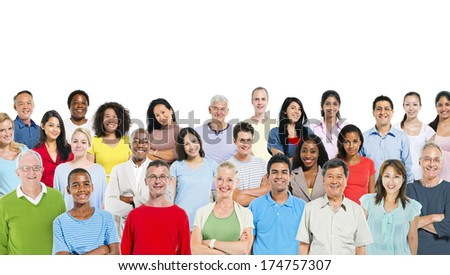Mixed group of people. - stock photo