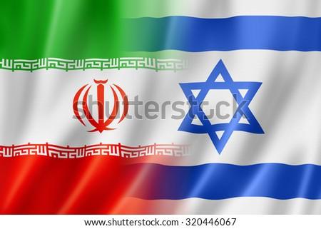 Mixed Iran and Israel flag, three dimensional render, illustration - stock photo