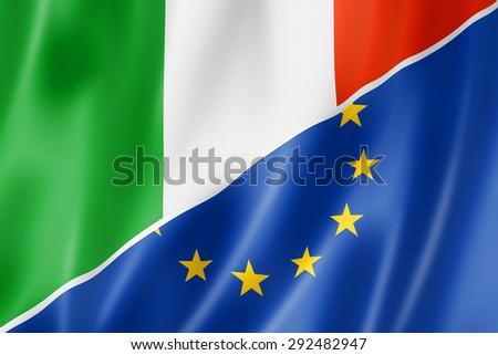 Mixed Italian and european Union flag, three dimensional render, illustration - stock photo