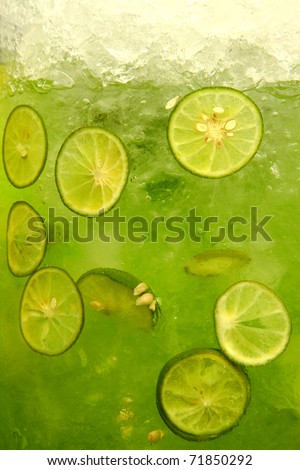 Mixed lime and ice - stock photo