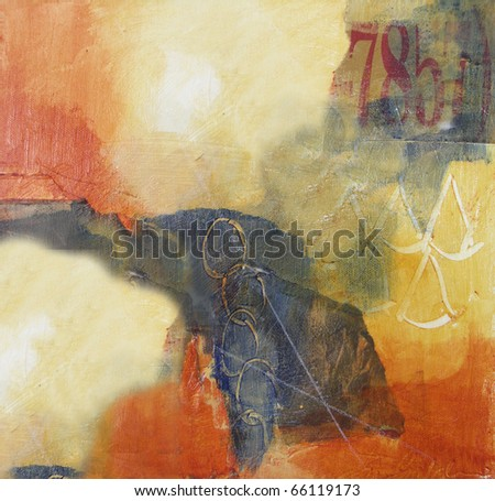 Mixed media abstract painting on canvas - stock photo