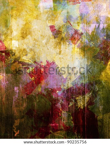 mixed media painting - stock photo