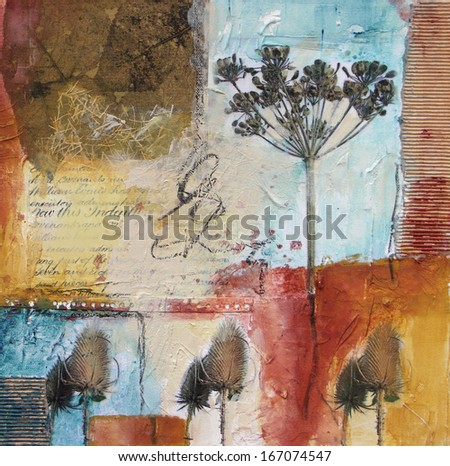 Mixed media painting of seed heads  - stock photo