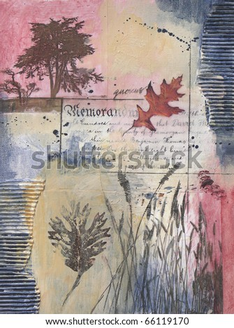 Mixed media painting with tree, leaves, grasses, text - stock photo