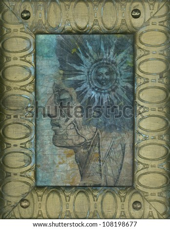 Mixed medium artwork with anatomical portrait and alchemical sun. - stock photo