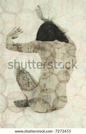 Mixed medium illustration of female gesturing with pattern of Asian calligraphy. - stock photo