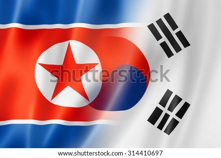 Mixed North Korea and South Korea flag, three dimensional render, illustration - stock photo