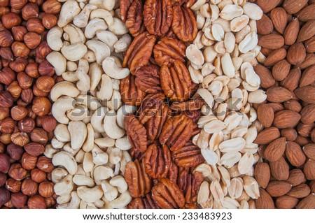 Mixed nut background - stock photo