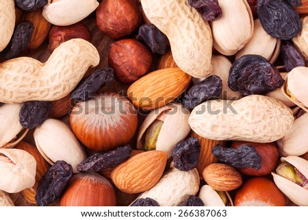 Mixed nuts organic snack such as almond, hazelnut and pistachios background texture - stock photo