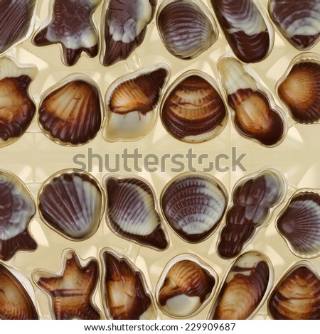 Mixed pieces of chocolate seashell candies - stock photo