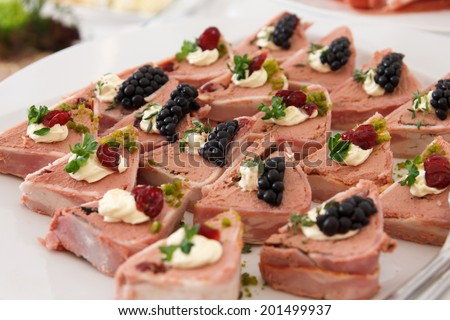 Mixed plate of pates neatly arranged with blackberry garnish. Catering event. - stock photo