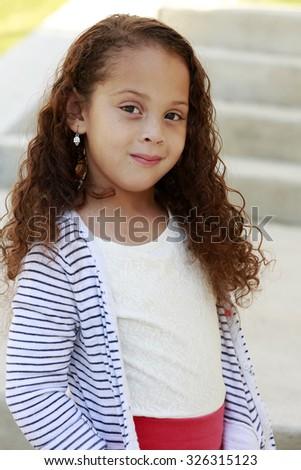 Mixed race girl - stock photo