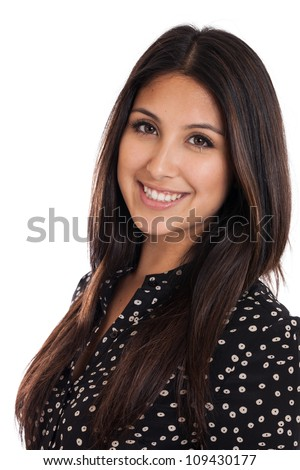 Mixed race Japanese and Mexican business woman portrait headshot isolated on white background - stock photo