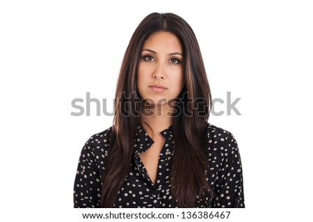 Mixed race Japanese Mexican business woman with sad expression isolated on a white background - stock photo