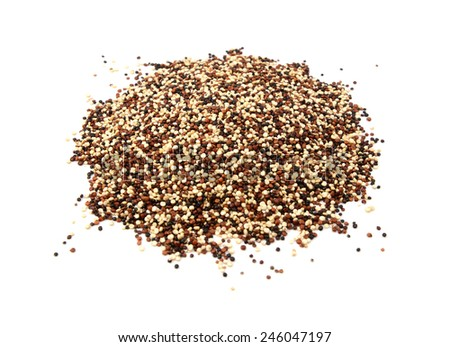 Mixed red, white and black quinoa, isolated on a white background - stock photo