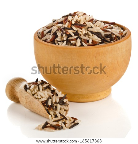 mixed rice in wooden bowl with spoon scoop  isolated on white background - stock photo