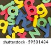 mixed rubber letters - stock photo