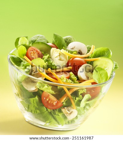 Mixed salad with tomatoes, cucumbers,carrots, Mushrooms in a bowl - stock photo