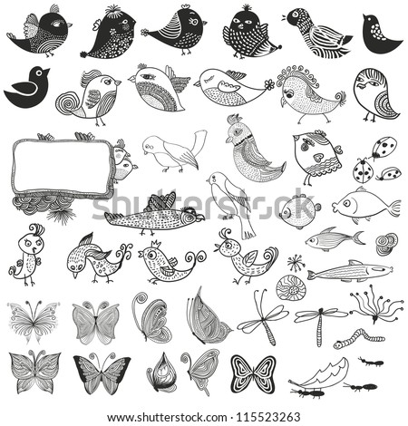 Mixed set of birds fishes insects. doodle - stock photo