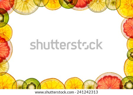 mixed sliced fruits transparency isolated on white background back lighted as frame - stock photo
