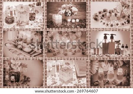 Mixed spa setting,Spa collage made nine image on burlap background - stock photo