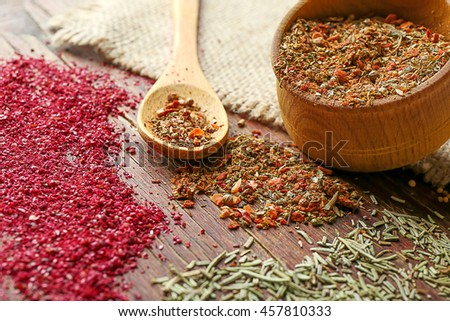 Mixed spices in bowl and spoon on wooden background - stock photo