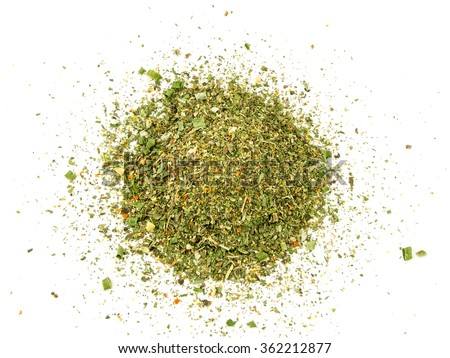 Mixed spices on white background. Garlic fennel carrots basil celery, parsley, marjoram, onion. - stock photo