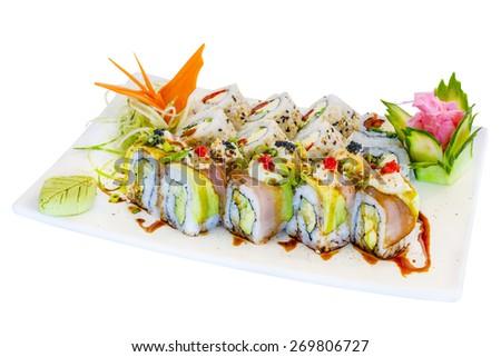 Mixed sushi white background - stock photo