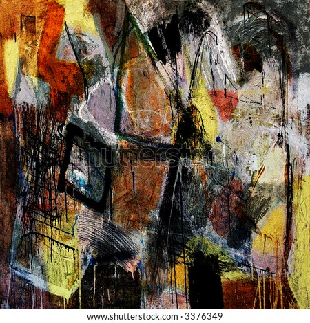 Mixed technics, Expression Abstract painting - stock photo
