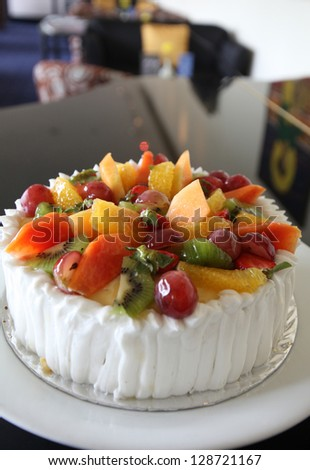 mixed tropical fruit cake - stock photo