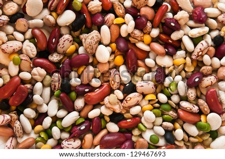 Mixed Uncooked Dry Beans - stock photo