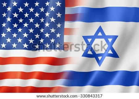 Mixed USA and Israel flag, three dimensional render, illustration - stock photo