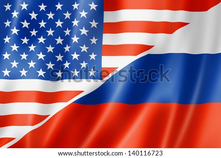 Mixed USA and Russia flag, three dimensional render, illustration - stock photo