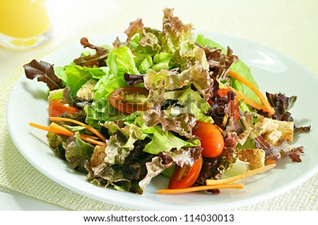 Mixed vegetable healthy salad in white dish   - stock photo