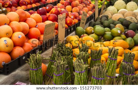 Mixed vegetables and fruit for sale at the Haymarket, Boston - stock photo
