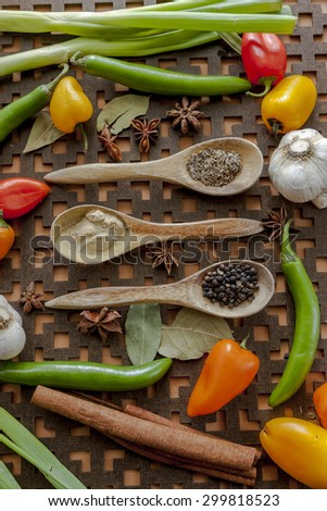 Mixed vegetables and spices. - stock photo