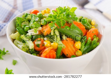Mixed vegetables in a bowl. Selective focus - stock photo