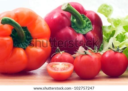 Mixed vegetables on white background. - stock photo