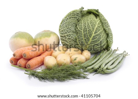 Mixed vegetables over white - stock photo