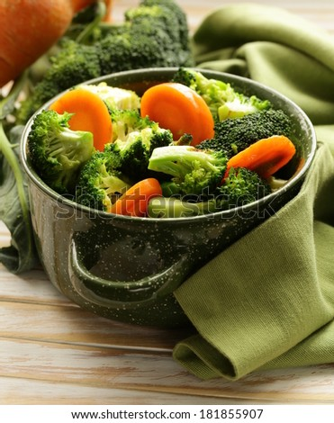 mixed vegetables with carrots and broccoli tasty garnish - stock photo