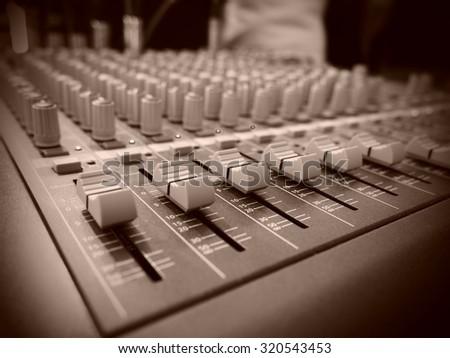 Mixer audio sepia - stock photo