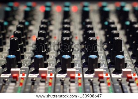 Mixer In A Recording Studio - stock photo