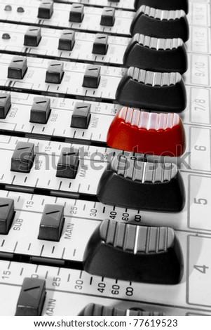 mixer panel and fader - stock photo