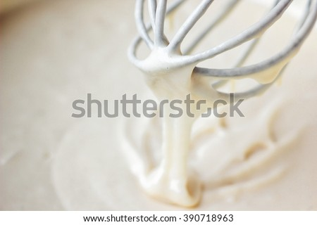 Mixing Batter or dough for banana cake or muffin or pancake. Close up, soft focus.  - stock photo