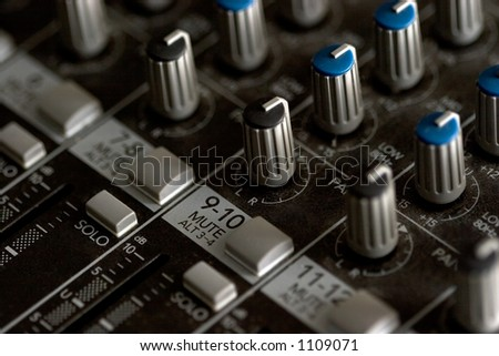 Mixing board, detail - stock photo