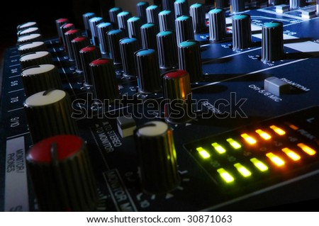 Mixing console at night. Element of design. - stock photo