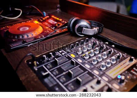 Mixing Console at the night club. - stock photo
