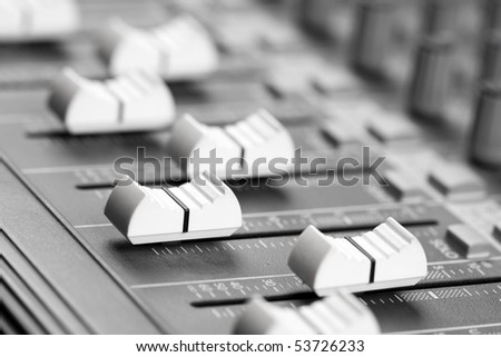 Mixing console button - stock photo