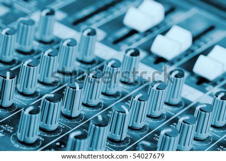 Mixing console knob - stock photo