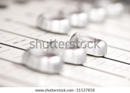 mixing console silver - stock photo